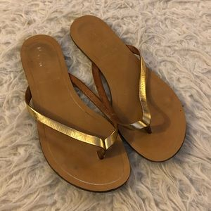 J. Crew gold sandals flips flops shoes